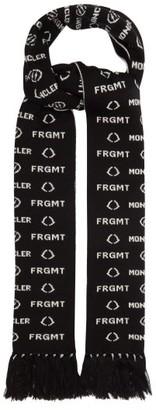 Fragment 7 Moncler Hiroshi Fujiwara - Logo-jacquard Fringed Wool Scarf - Black