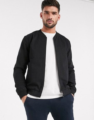 New Look lightweight cotton bomber jacket in black