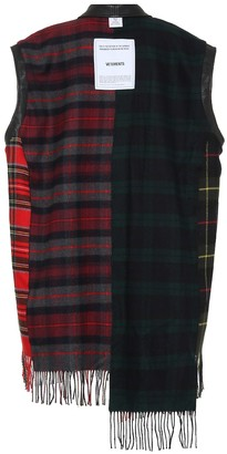Vetements Plaid and leather sleeveless jacket