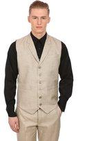 Wintage Men's Linen Blend Notch Lapel Grey Vest,50/ 4XL