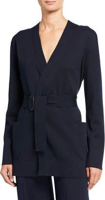 Loro Piana Silk-Cotton Belted Wrap Cardigan