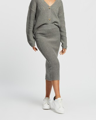 Atmos & Here Atmos&Here - Women's Grey Midi Skirts - Lauren Knit Skirt - Size M at The Iconic