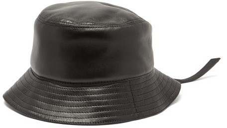 Loewe Logo-patch Zipped Leather Bucket Hat - Mens - Black