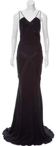 Alexander McQueen Satin-Trimmed Evening Dress