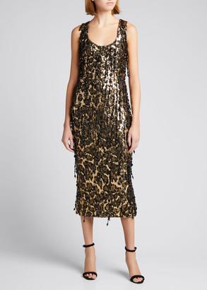 Dolce & Gabbana Leopard Fringe Embellished Midi Dress