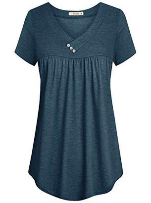 Cyanstyle V Neck Blouses for Women Ladies Pleated Short Sleeve Tunic Button Details Elastic Fabric Flowy Draped Cover Belly Casual Cool Loose Fitting Cotton Petite Tops for Summer M