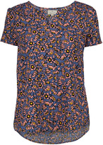 Très Jolie Women's Blouses Dark - Dark Chambray & Yellow Floral Notch Neck Short-Sleeve Tunic - Women