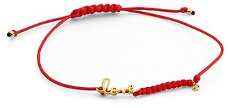 Sydney Evan 14K Goldplated, Love & Diamond Charm Red Cord Bracelet