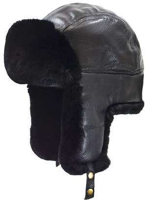 Crown Cap Rabbit Fur-Trim Leather Aviator Hat