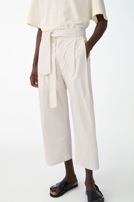 Cos Cotton Belted Wide-Leg Cropped Pants