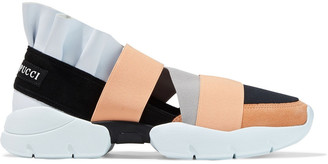 Emilio Pucci City Up Ruffled Leather, Suede And Neoprene Slip-on Sneakers