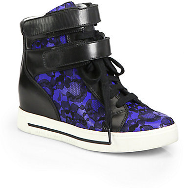 Marc by Marc Jacobs Lace-Covered Leather Wedge Sneakers