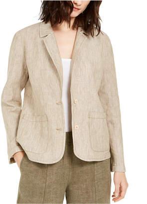 Eileen Fisher Organic Linen Notch Collar Shaped Blazer