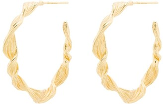 Anni Lu 18kt gold plated brass Seaweed hoop earrings