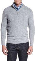 Neiman Marcus Tipped Half-Zip Cashmere Sweater, Navy
