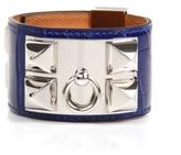 Electric Blue Shiny Alligator Collier de Chien Bracelet