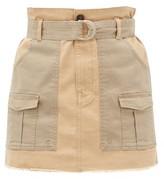 Frame Safari Cotton-blend Twill Mini Skirt - Womens - Beige