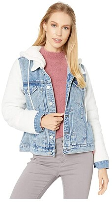 Blank NYC Light Denim and Off-White Sherpa Sleeve Denim Trucker Jacket in Stepchild (Stepchild) Women's Clothing