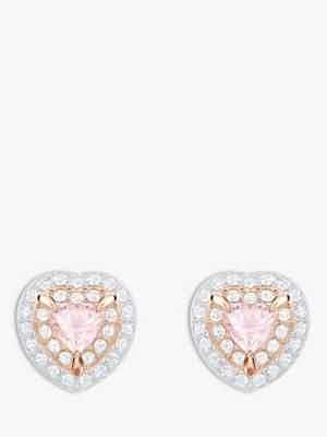 Swarovski Crystal Heart Stud Earrings, Rose Gold