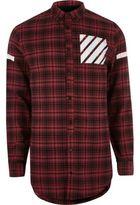River Island MensRed check pocket print longline shirt