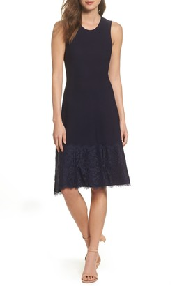 Eliza J Lace Hem Fit & Flare Dress (Regular & Petite)