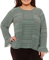 Liz Claiborne Long Sleeve Front Pleat Blouse- Plus