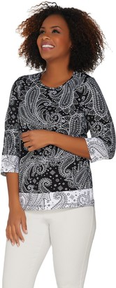 Denim & Co. Paisley Print 3/4 Sleeve Top with Contrast Trim Detail