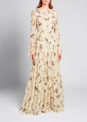 Erdem Silk Floral Long-Sleeve Tiered Gown