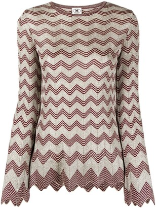 M Missoni Zig-Zag Knit Long-Sleeved Top