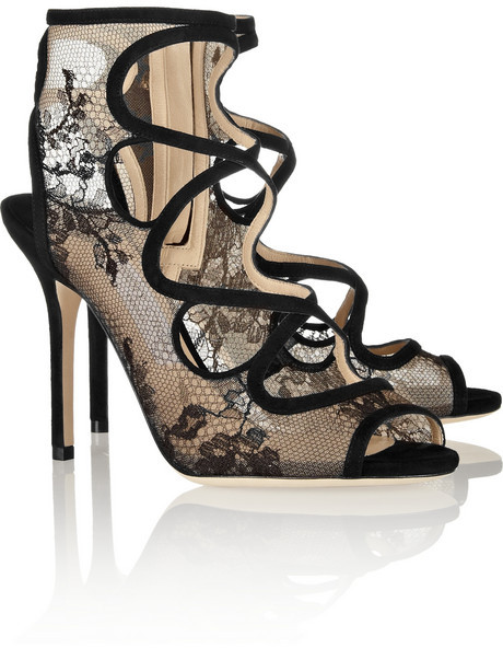 Jimmy Choo Jalislo cutout suede and lace sandals