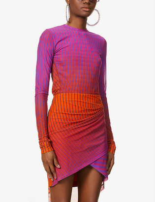 Fenty by Rihanna Striped loose-fit stretch-mesh top