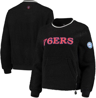 Women's Black Philadelphia 76ers Sherpa Pullover Jacket with Zipper Detail