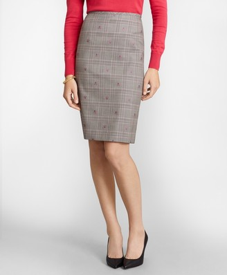 Brooks Brothers Floral Plaid Jacquard Pencil Skirt