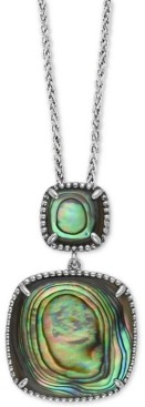 """Effy Abalone Double Drop 18"""" Pendant Necklace in Sterling Silver"""