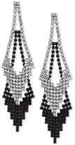 GUESS Hematite-Tone Clear & Jet Crystal Double Drop Earrings
