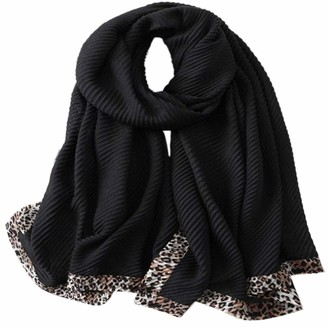 Trillion Silk Scarf For Women's Ladies Lightweight Animal Inspired Print Pleated Scarves Shawls Luxury Gift for Valentine's Day (Black)