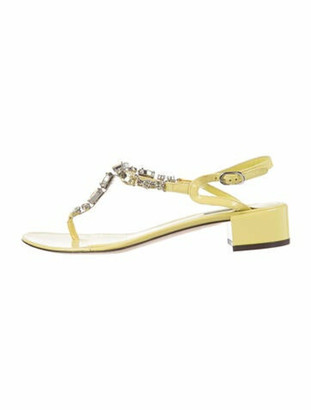 Dolce & Gabbana Patent Leather Crystal Embellishments T-Strap Sandals Yellow