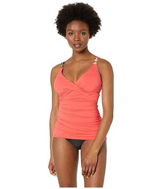 MICHAEL Michael Kors Over the Shoulder Twist Tankini Top with Chain Trim and Removable Soft Cups