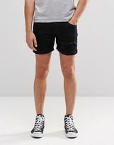 Dr Denim Mac Slim Denim Shorts Black Ripped