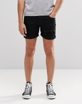 Dr. Denim Trench Slim Denim Shorts Black Ripped