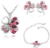 Pink Swarovski Crystal Elements Clover Necklace Bracelet and Earrings Set CRY A218-A105-B302 - Blue Pearls