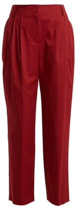 Diane von Furstenberg Pleated Stretch-cotton Trousers - Burgundy