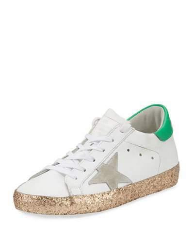 Golden Goose Superstar Glittered Platform Sneakers, White/Gold