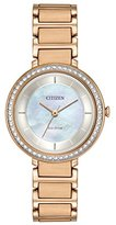 Citizen Women's 'Silhouette Crystal' Quartz Stainless Steel Casual Watch, Color:Rose Gold-Toned (Model: EM0483-54D)