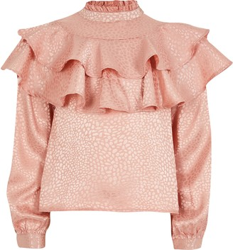 River Island Girls Pink jacquard frill top
