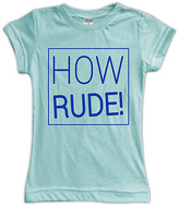 Urban Smalls Light Aqua 'How Rude!' Fitted Tee - Toddler & Girls