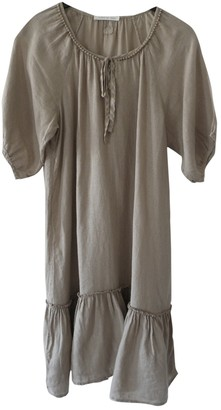 120% Lino Beige Linen Dress for Women