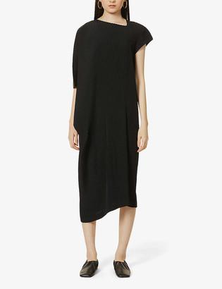 Issey Miyake Asymmetric pleated woven dress