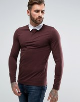 Asos Muscle Long Sleeve Rugby Polo Shirt In Oxblood