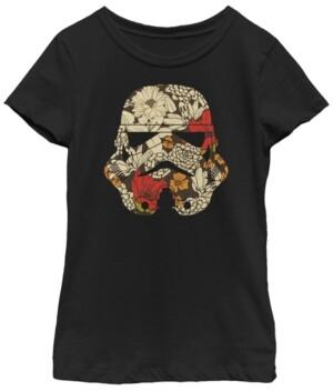 Fifth Sun Star Wars Big Girl's Stormtrooper Black White Plaid Faced Short Sleeve T-Shirt